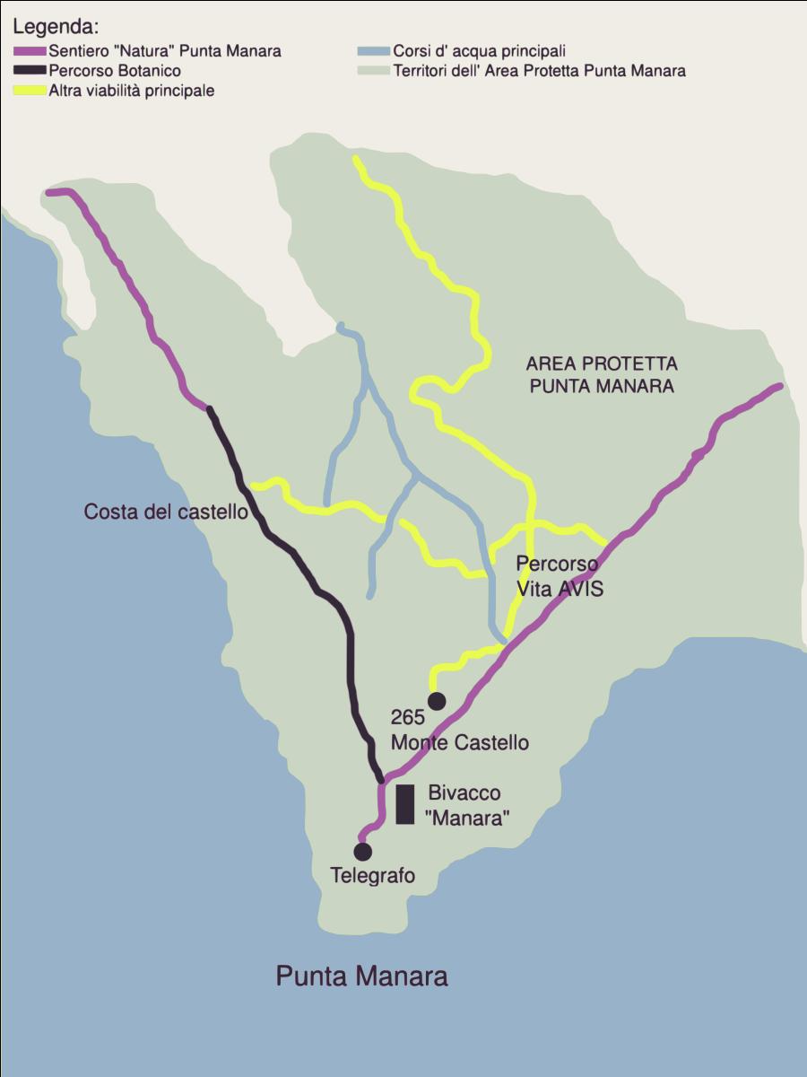 mappa sentiero punta manara - author Marcobombe